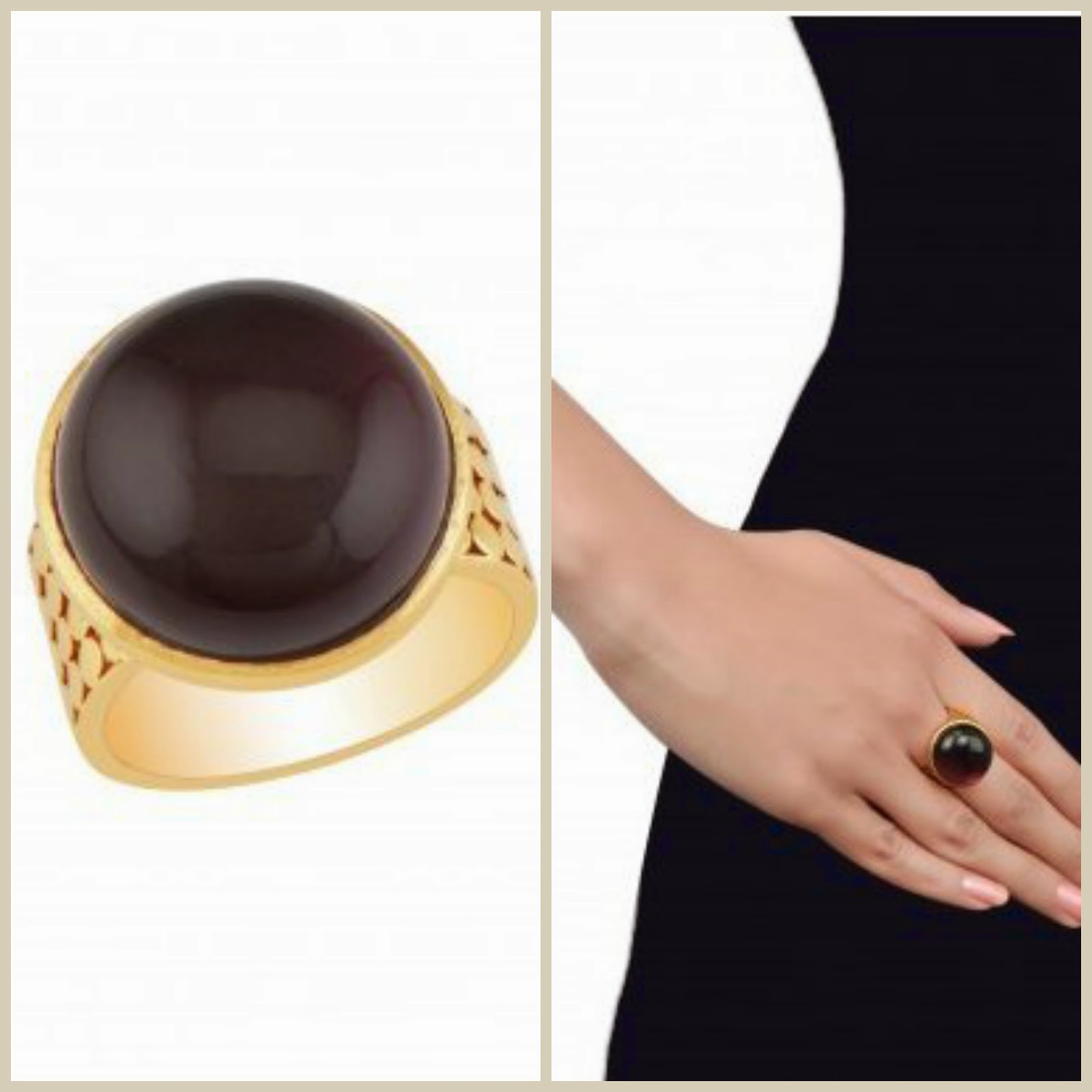 Gold Plated Amethyst Glass Ring - Rs.750 - BUY