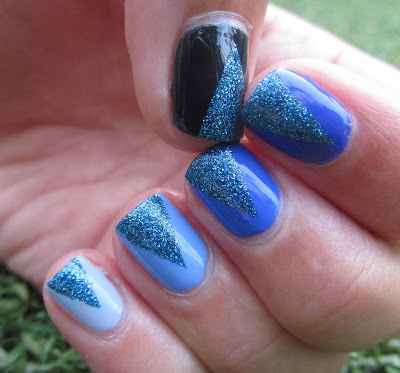 Blue Ombre Nails, Milani - Blue Flash, Gade 392 - Blue Wish, Barry M - Blueberry, Sally Hansen - 420 - Pacific Blue, Essence - Electric Blue and Gade 378 - Midnight