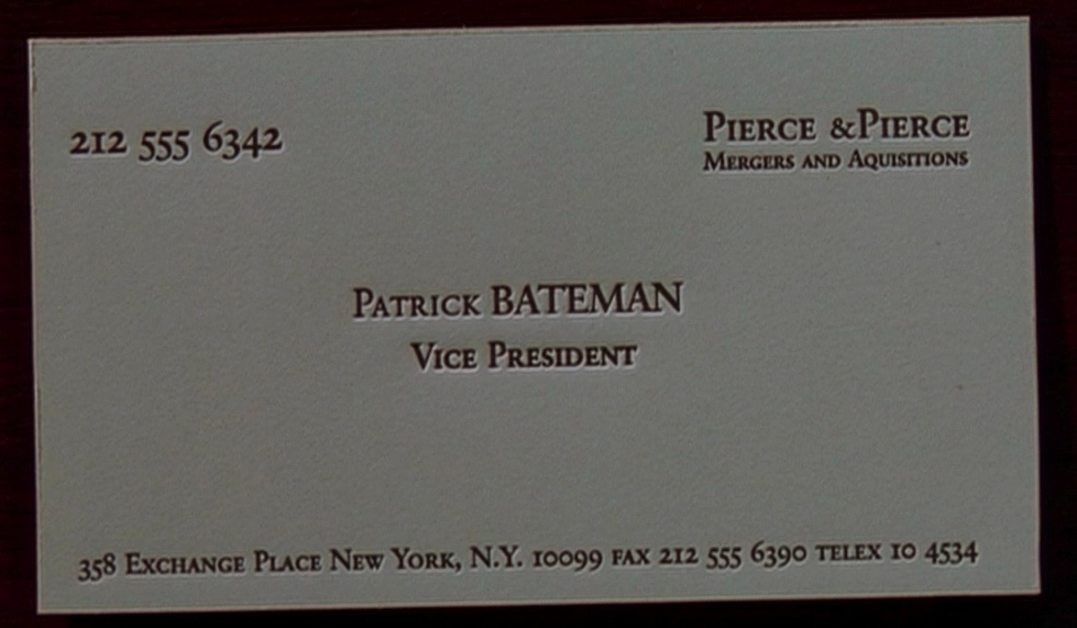 Corporate joe in cubicle land zero net worth when networking for Patrick bateman business cards