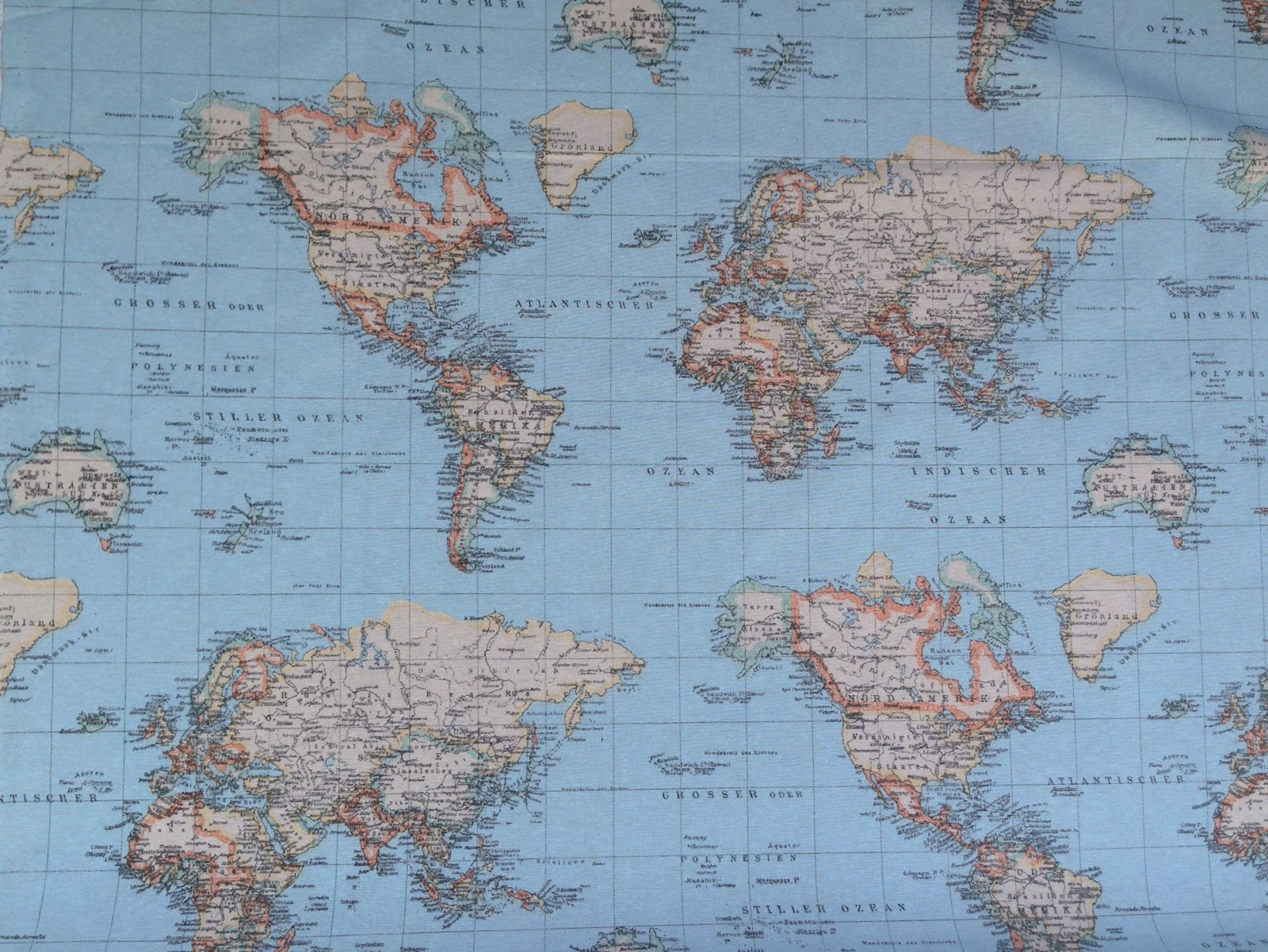 World map print designer upholstery and curtain fabrics for Fabric world