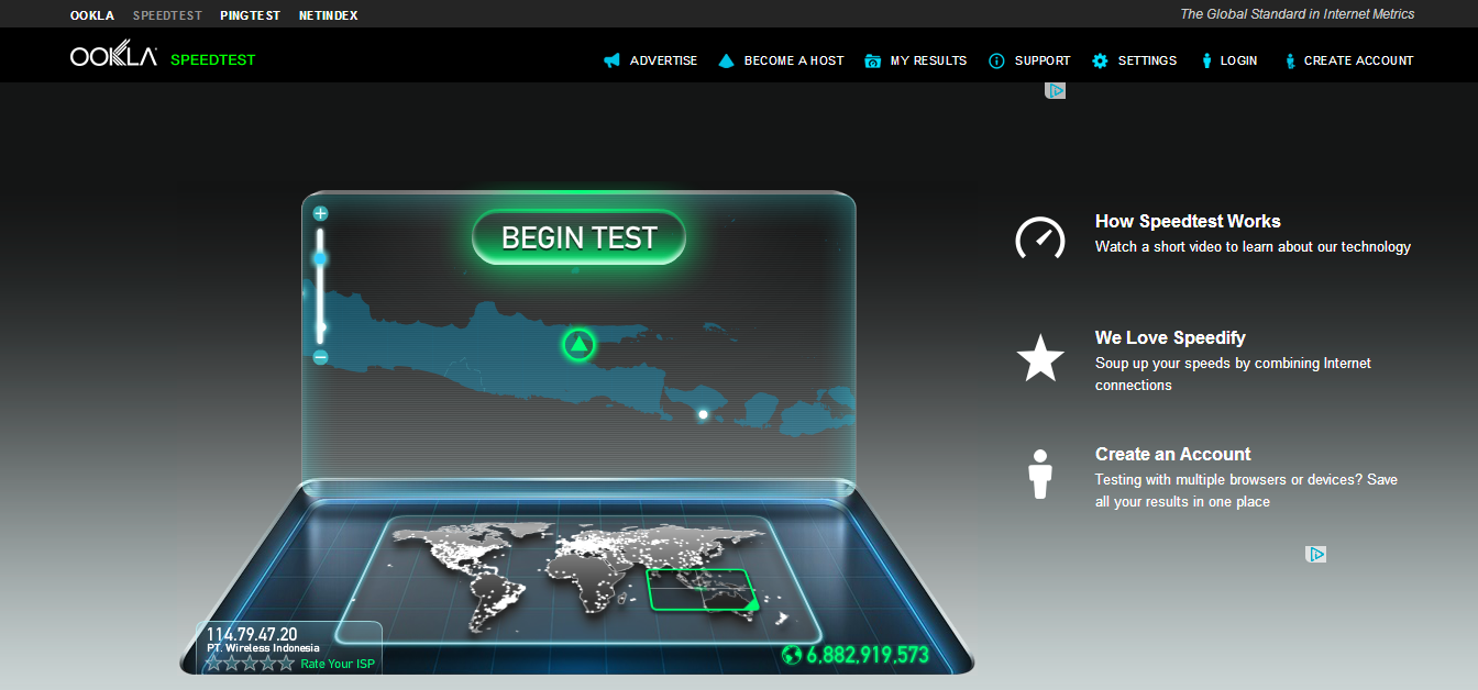 Halaman Speed Test
