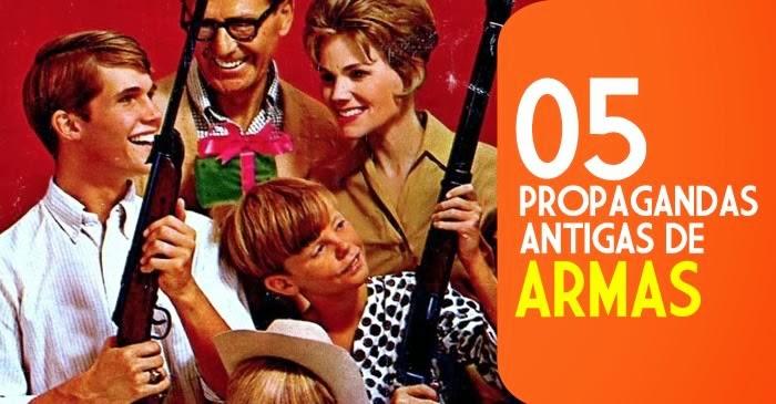 Coleção de propagandas antigas de armas.