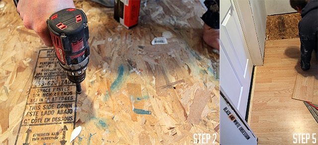 Step 2- fasten OSB using drywall screws & Step 5 cut with saw   Installing New Tarkett Plank Flooring in our Entryway   www.blackandwhiteobsession.com