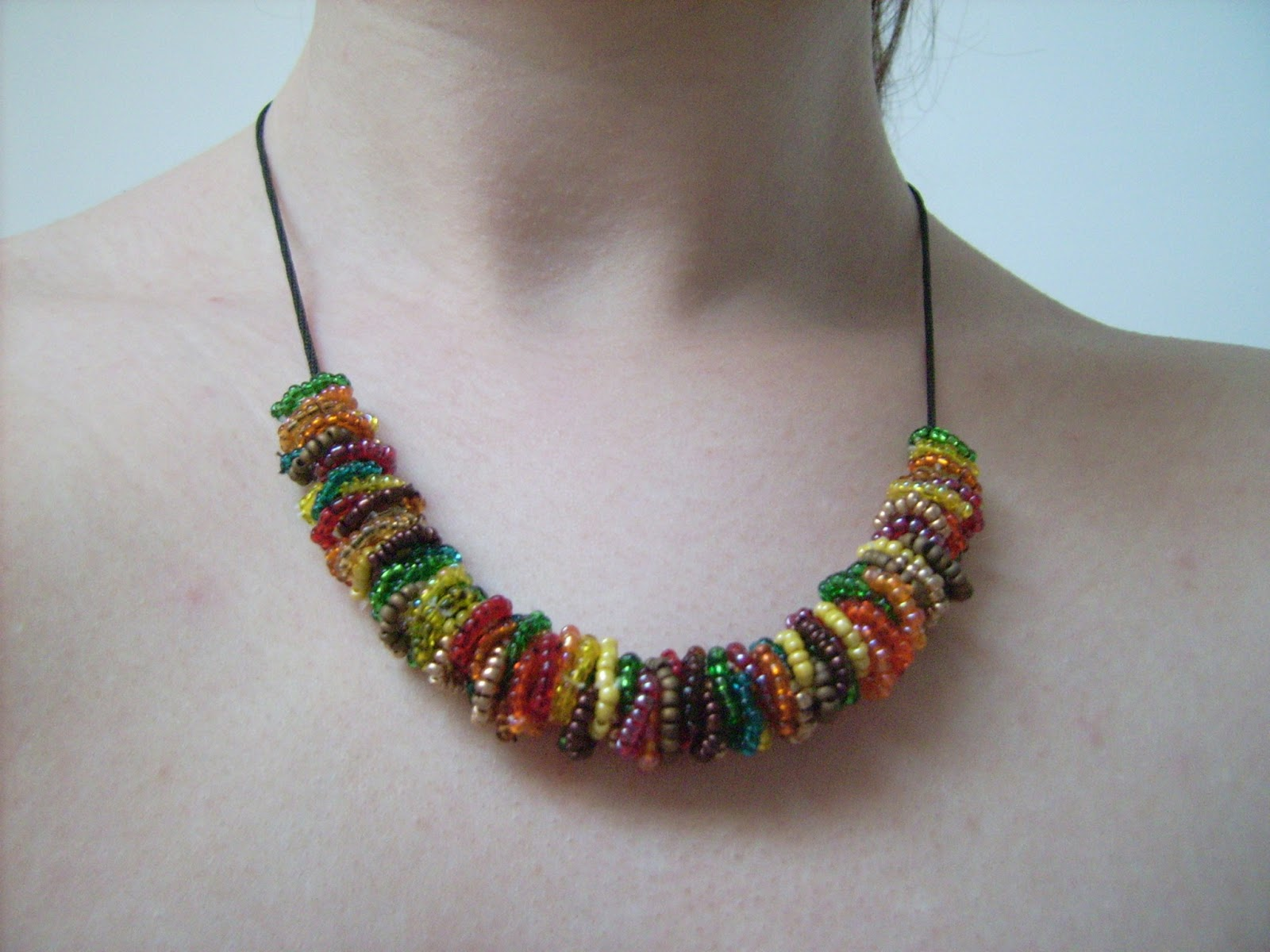 colorful beaded necklace, tribal necklace