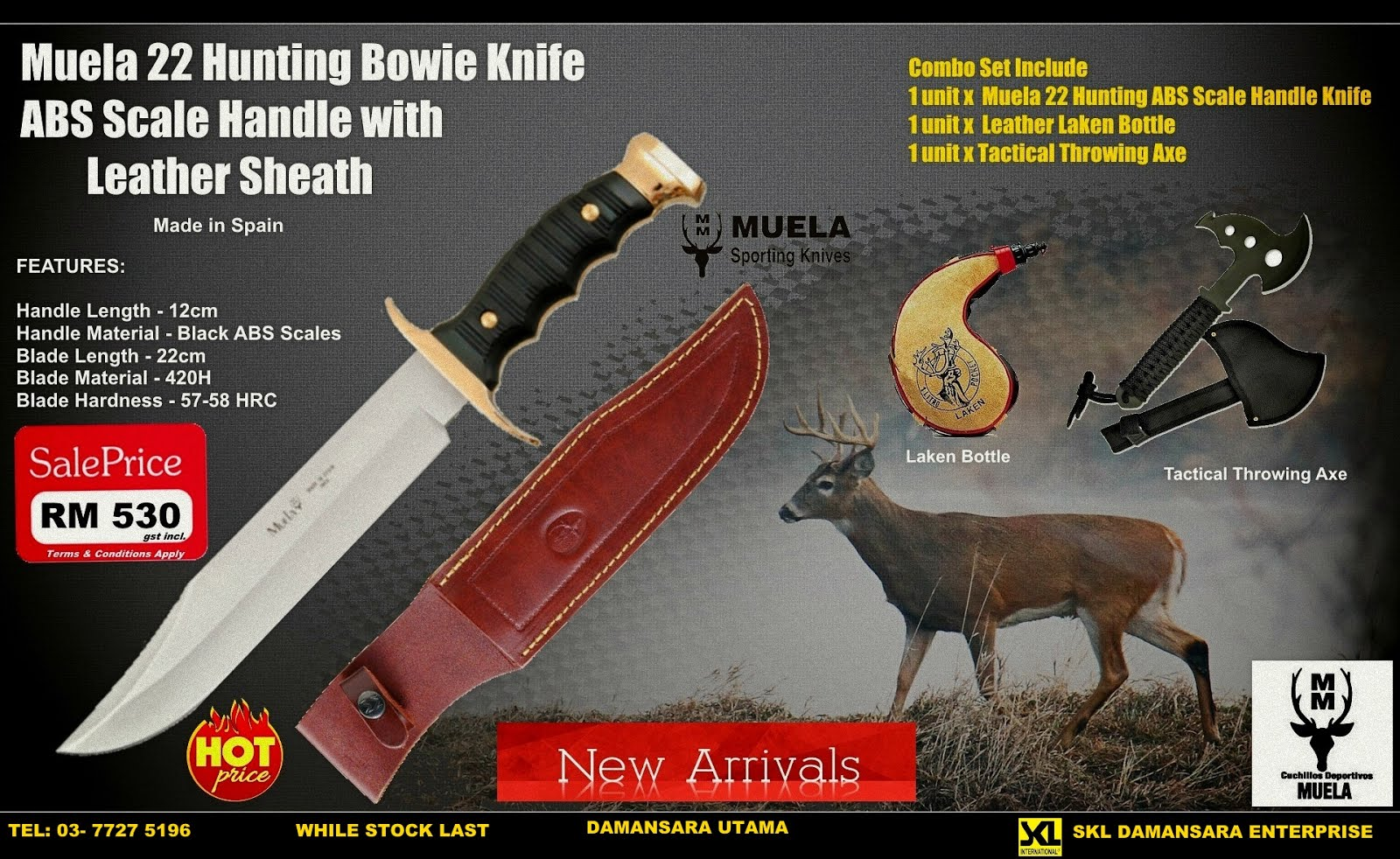Muela 8.5 Inch Blade Extra Large Hunting Bowie Knife with ABS Scale Handle