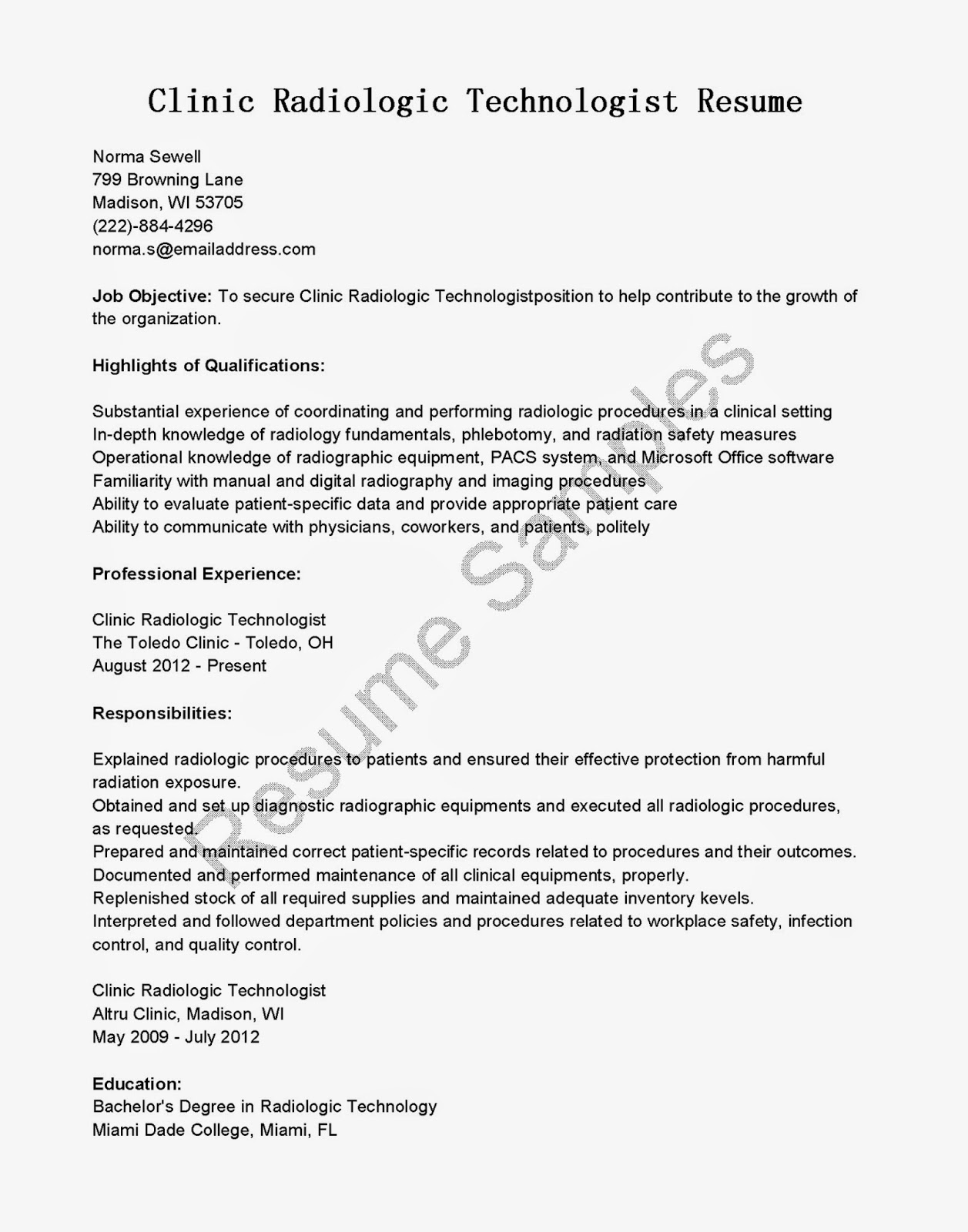 resume samples  clinic radiologic technologist resume sample