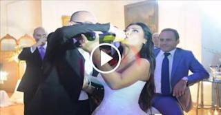 بالفيديو والصور.. قبلات ساخنة وشمبانيا بزفاف ملكة جمال مصر