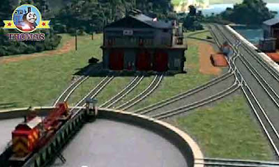 Thomas train Flynn Island of Sodor fire engine station immediately race to the rescue on the rails