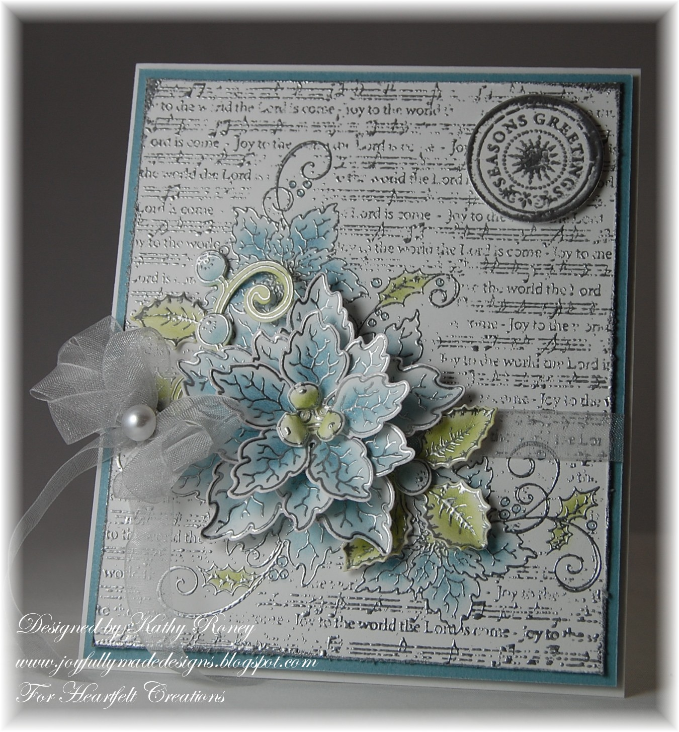 Joyfully Made Designs Blue Sparkling Poinsettia