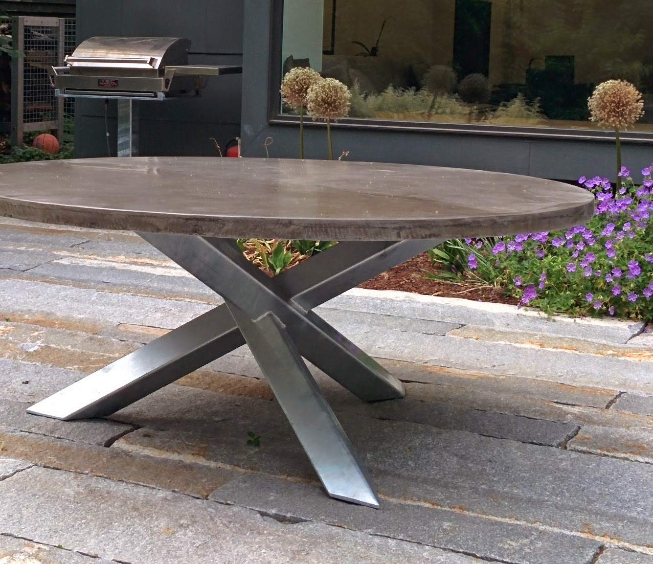 Custom Galvanized Steel Bases, Cambridge MA. Concrete Supplied By Client.