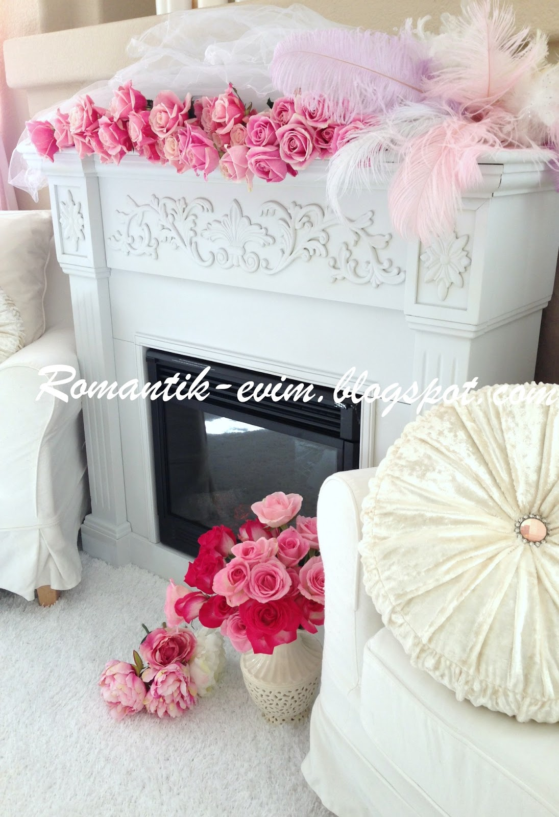 my shabby chic home romantik evim romantik ev romantik beyaz ev dekorasyonu ve beyaz somine. Black Bedroom Furniture Sets. Home Design Ideas