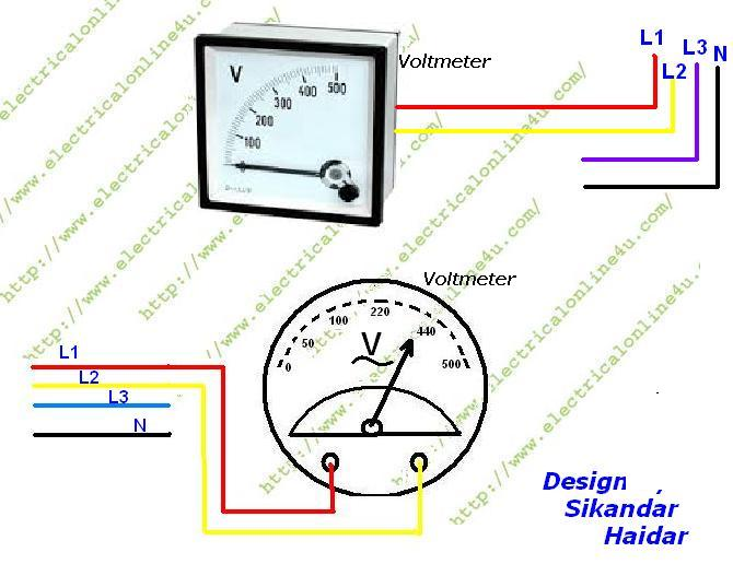 how to wire voltmeter in 3 phase wiring electrical online 4u rh electricalonline4u com Motor Wiring Diagram 3 Phase 12 Wire 220 Volt Motor Wiring Diagram