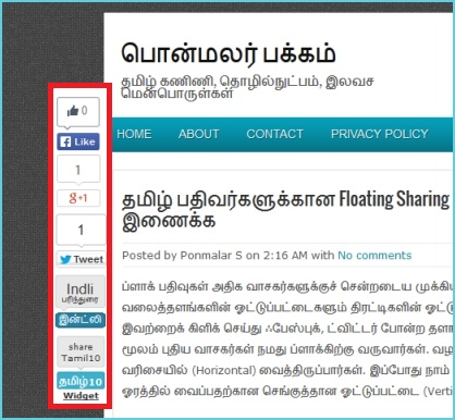 floating sharing widget for tamil blogs