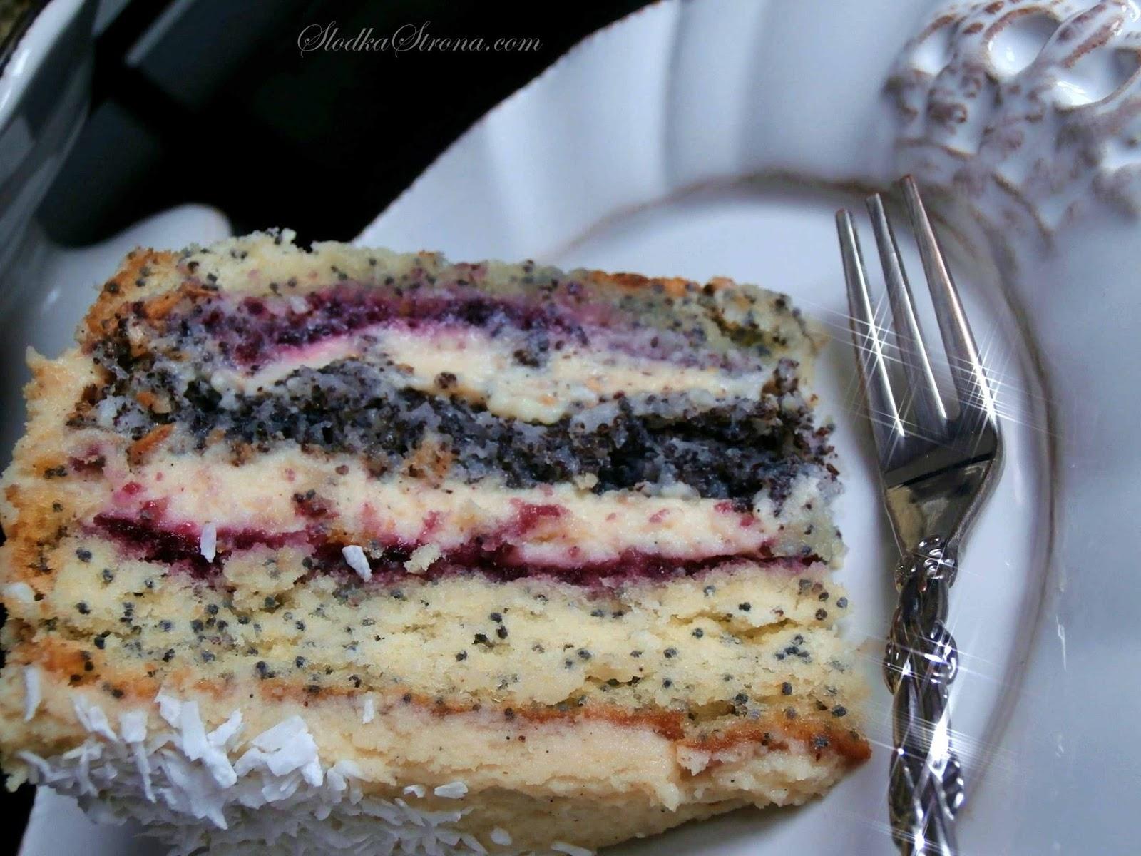Tort Makowy z Białą Czekoladą - Przepis - Słodka Strona