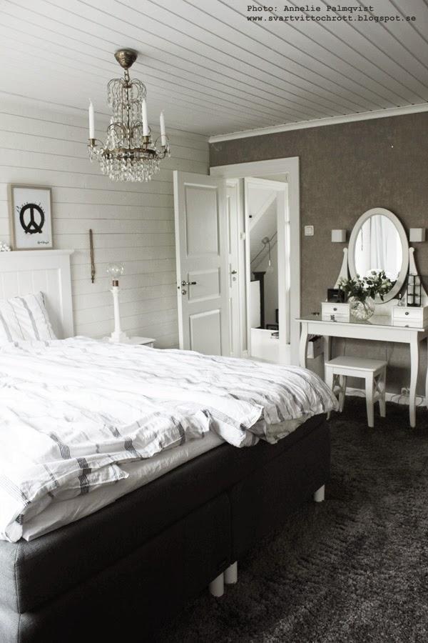 inspiration sovrum, heltäckningsmatta, heltäckningsmattor, sminkbord, vitt, svart och vitt, grått, panelvägg, liggande panel, tavla i sovrummet, tavlor, artprint, poster, posters, prints, print, peacem lampa, lampor, tempursäng,