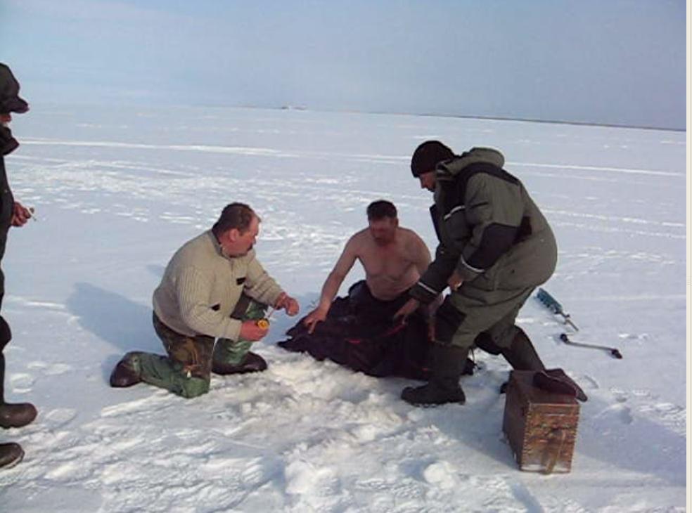 На зимней рыбалке случается всякое