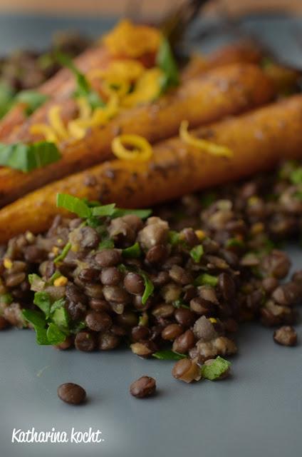 geröstete Möhren Karotten Linsensalat schwarze Linsen Belugalinsen zuckerfrei