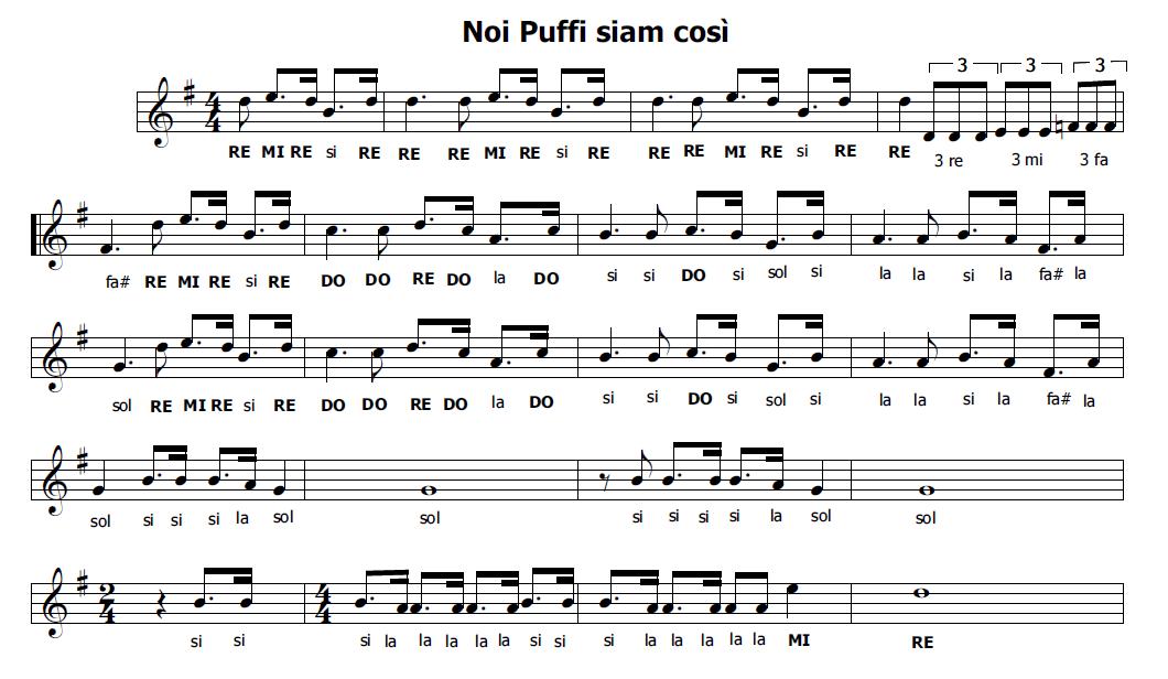 Musica e spartiti gratis per flauto dolce i puffi for Crea il mio piano personale gratuito