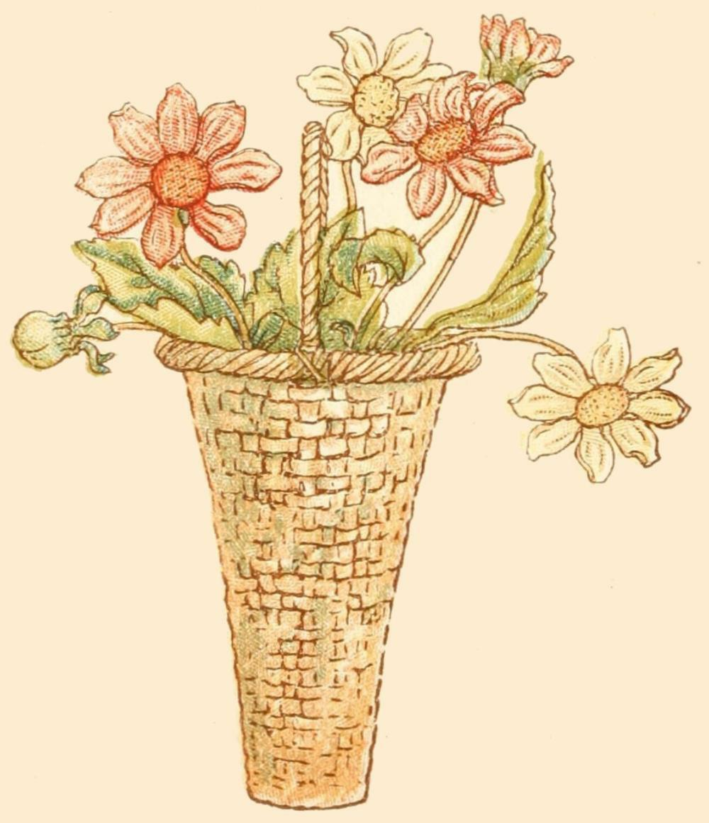 Drawings Of Flower Baskets : Reading roses prose flower illustrations by kate greenaway