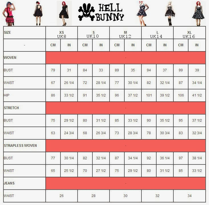 hell bunny clothing size chart i am alternative