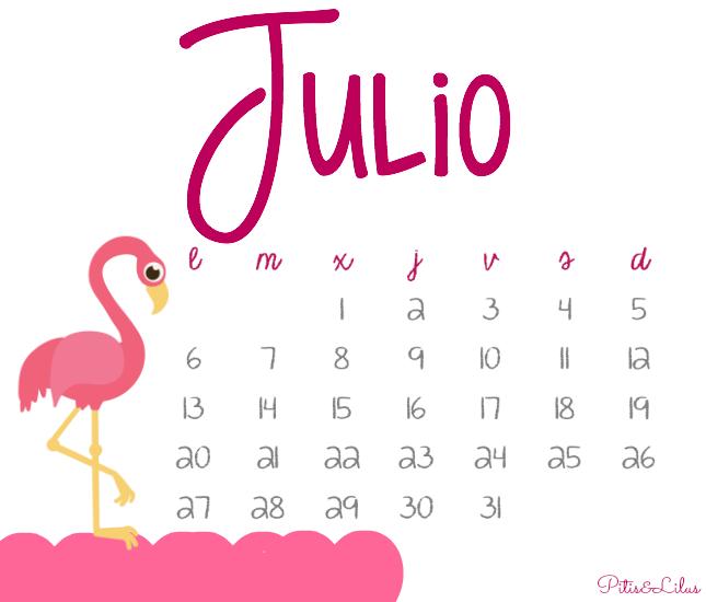 Pitis and Lilus: CALENDARIO IMPRIMIBLE Y FONDO PANTALLA... JULIO 2015