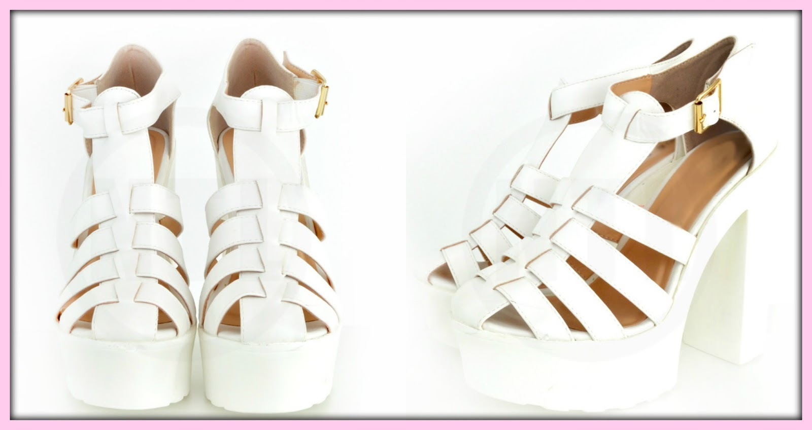 NEEDTHATLOOK.com White Chunky Heel Sandals