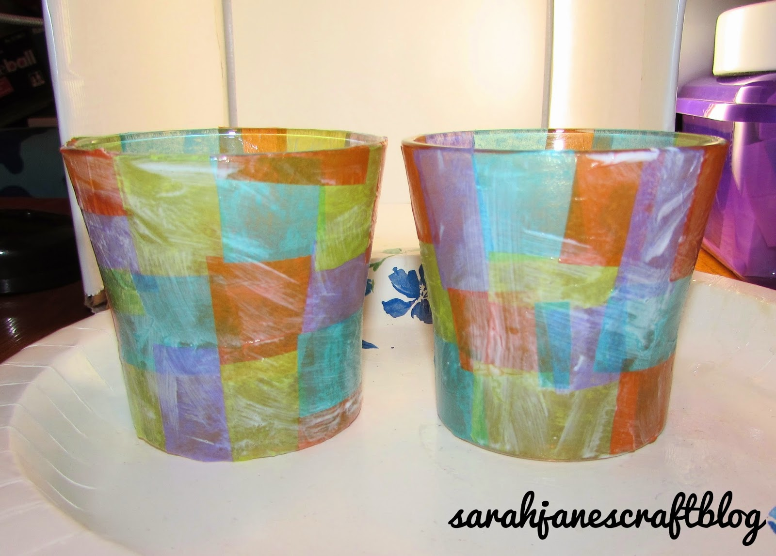 Sarah jane 39 s craft blog tissue paper stained glass for Cardboard candle holders