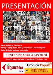 Presentación del Memorial Democrático [Antifranquista] Madrid 1931-1978