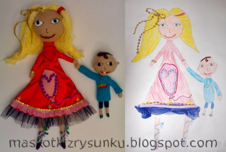 rysowane maskotki, maskotki z rysunków dzieci