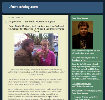 update on Sean Morton! Ufo Watchdog: Judge Orders Sean David Morton