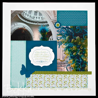 Victoria and Albert Museum Glass Collections Scrapbook Page by Bekka featuring the Sweet Shop Papers by Stampin' Up! www.feeling-crafty.co.uk