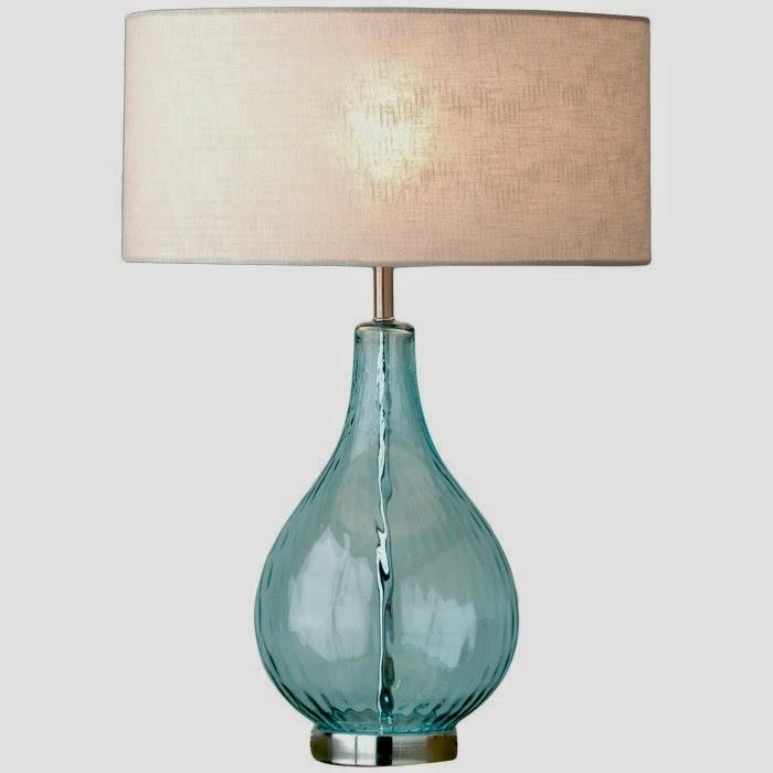 lampara de mesa cristal con pantalla textil