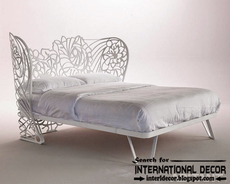 modern Italian wrought iron beds and headboards 2015, white wrought iron bed