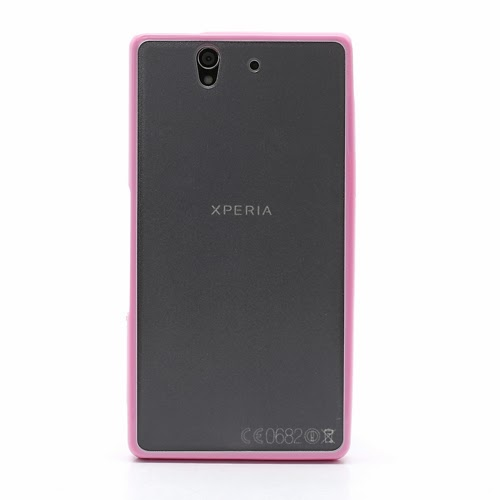 Hybrid Case : TPU Edges and Transparant Back Case Sony Xperia Z L36h L36i C6603 Yuga - Baby Pink