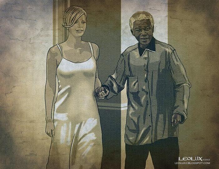 ©leolux. Dibujo e Ilustracion. Fotogramas | Photograms. Charlize Theron. Nelson Mandela