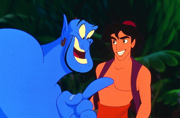The genie makes a point to Aladdin in Aladdin 1992 http://animatedfilmreviews.blogspot.com/2012/12/aladdin-1992-king-of-genies.html