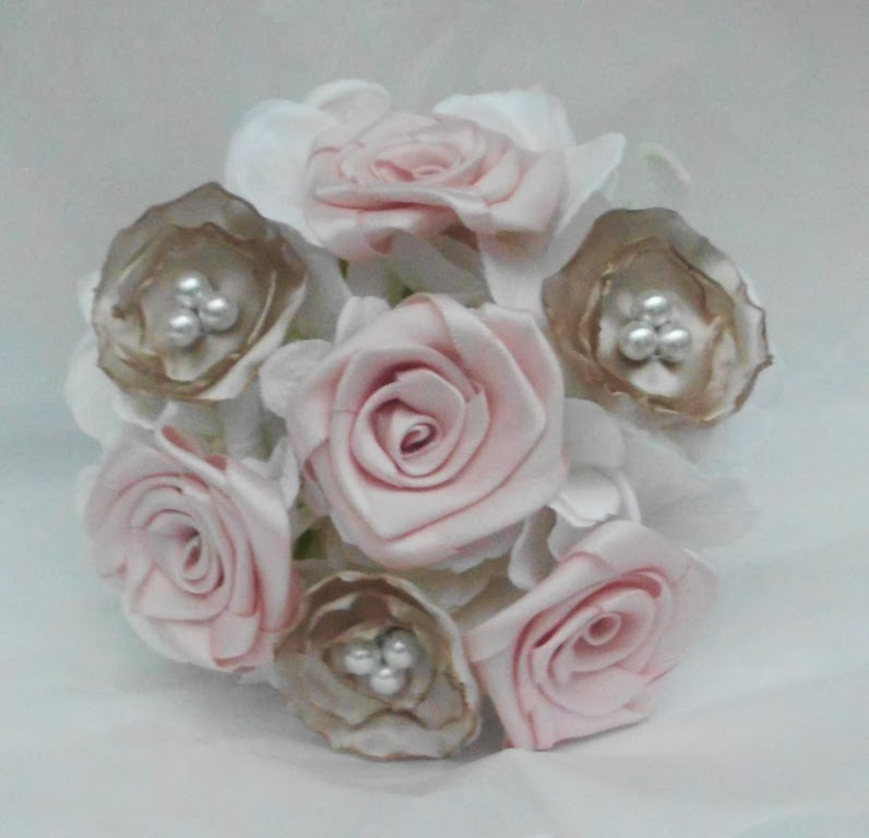 Have it All: Pink, Champagne, and White Bridal Fabric Flower Bouquet ...