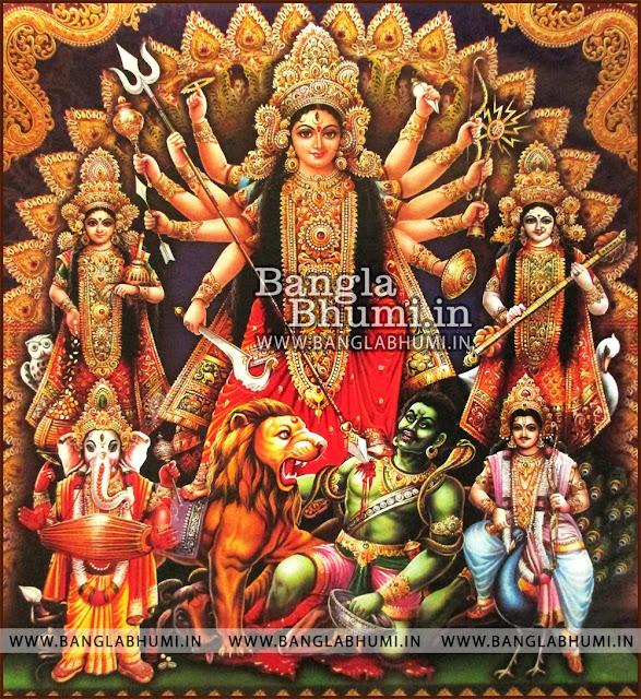 Maa Durga With Laxmi, Ganesha, Saraswati, Kartikey Bengali Style India God HD Poster