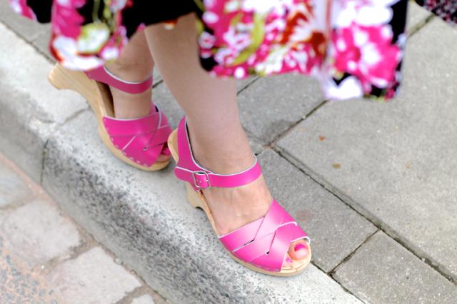 Sandgrens Rio Grande Semi-Wedge clogs in pink