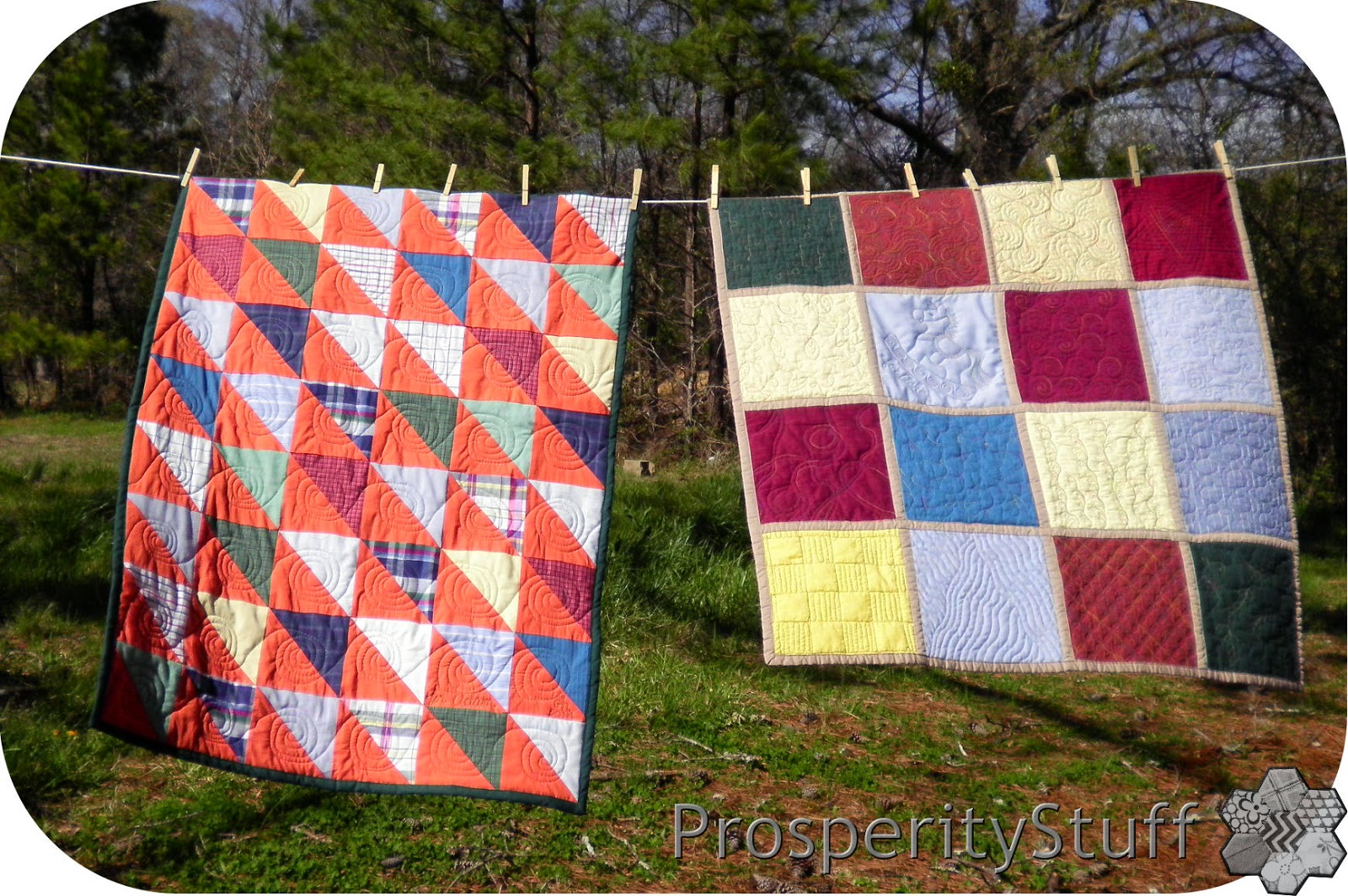ProsperityStuff Baby Quilts on Clothesline