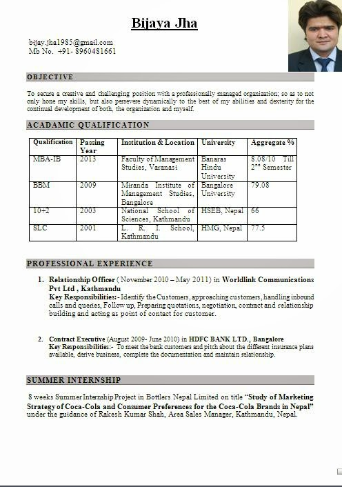 mba international business fresher resume