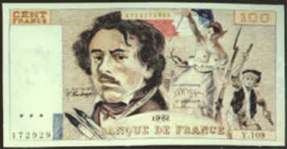 A Boggs Fr-100 French Franc note, from Demenga Gallery in Basel, Switzerland.