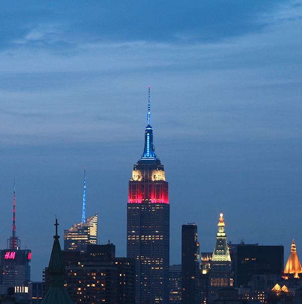 Empire State Building Red White and Blue Lights