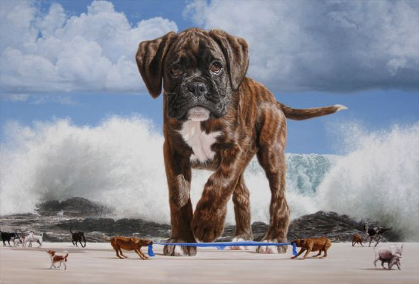 Joel Rea pintura hiper-realista surreal cães gigantes caindo céu Mar se levantando