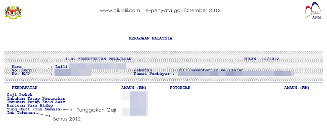 Bonus 2012 : Slip Gaji Bulan Disember 2012