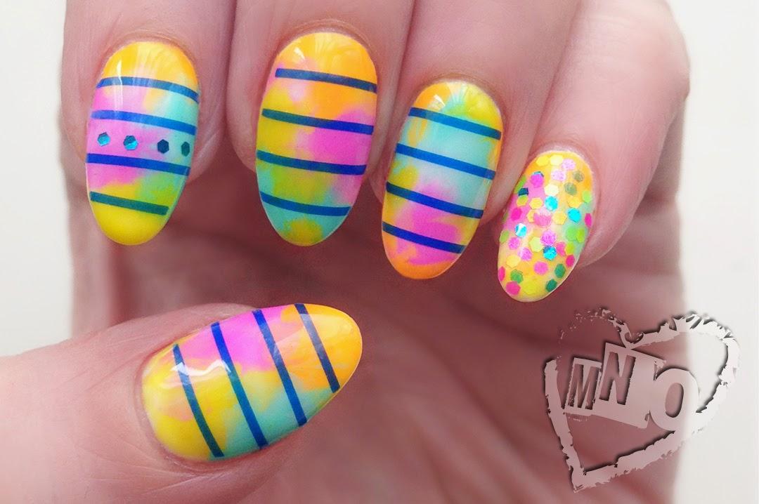 Nail Design Art Easter Spring Pastel Striping Marble plastic