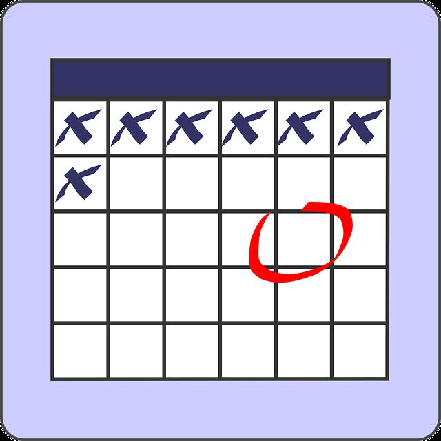Calendário mensal da pílula