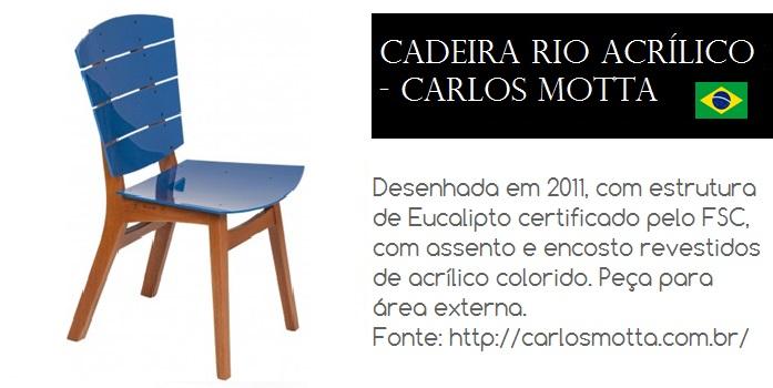 Cadeira Rio desenhada em 2011 pelo Designer Brasileiro Carlos Motta