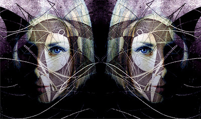 patterns, female portrait, photography mirror image