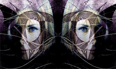patterns, female portrait, photography mirror image